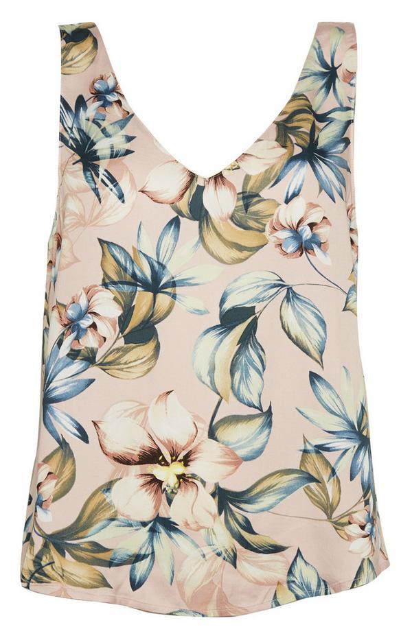 Rožnata satenasta bluza brez rokavov z V-izrezom in cvetličnim vzorcem