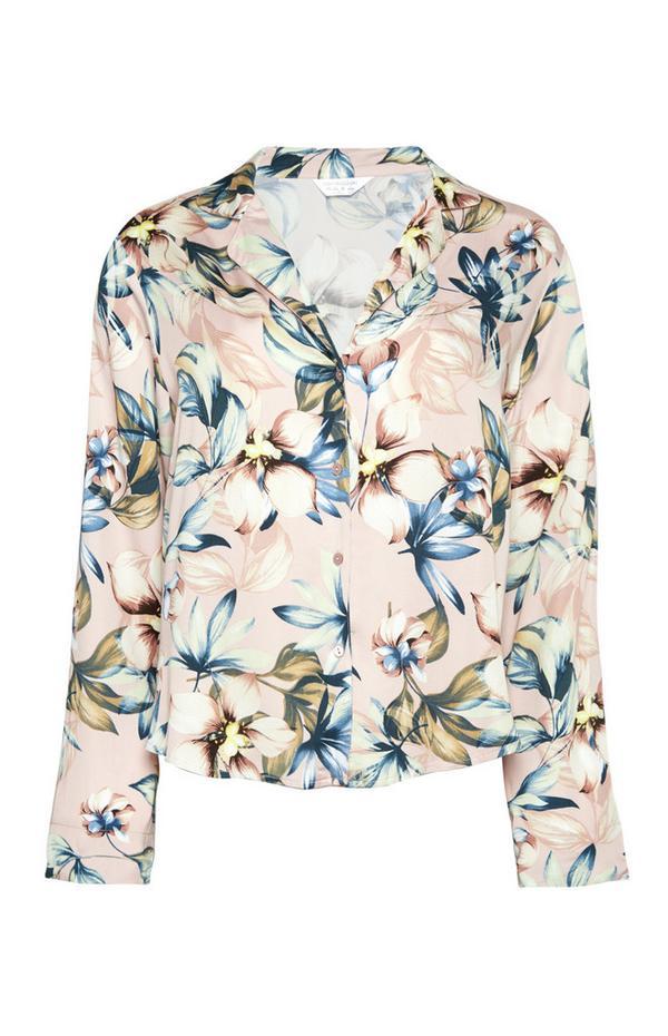 Rožnata satenasta bluza z dolgimi rokavi in cvetličnim vzorcem