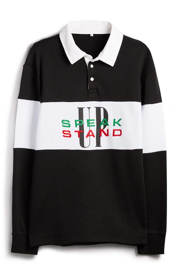 """Schwarz-weißes """"Stand Up Speak Up"""" Rugby-T-Shirt"""