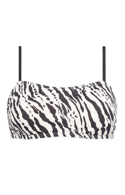 Top bikini bianco e nero a fascia con spalline e stampa zebrata