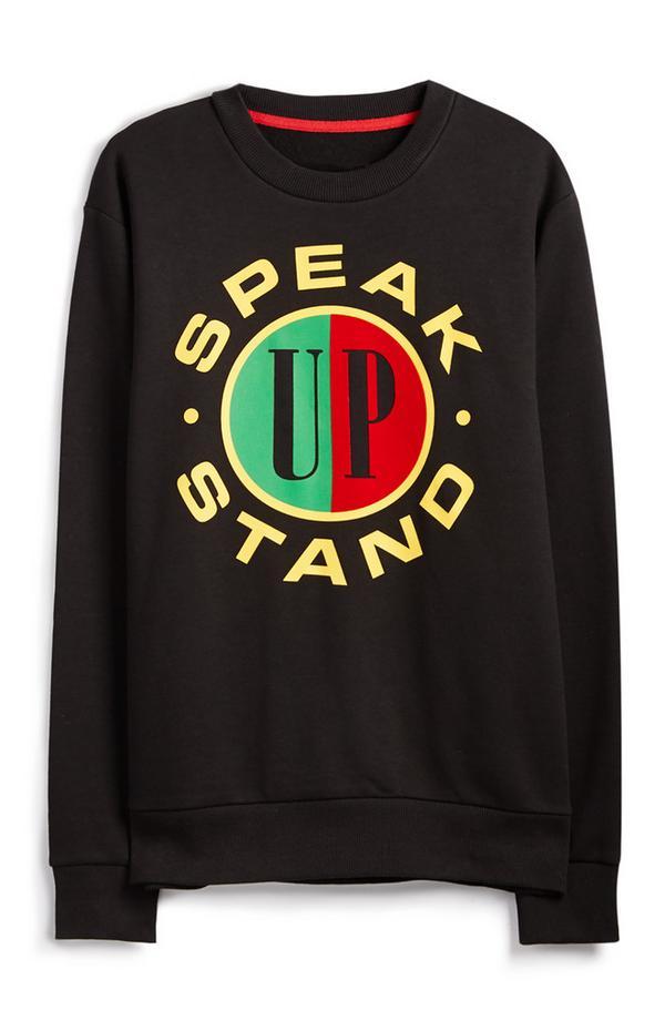 Črn pulover Speak Up Stand Up z logom RED