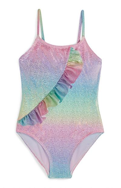 Younger Girl Pastel Ombre Ruffled Swimsuit