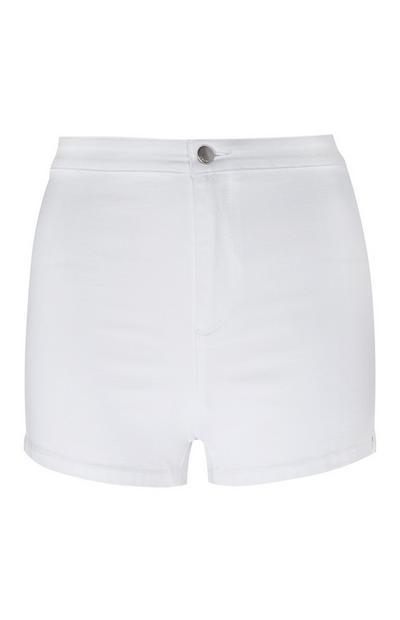 White High Waisted Tube Shorts