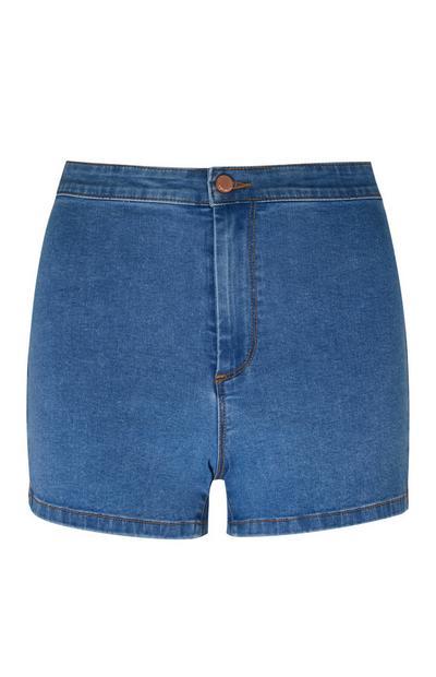 Blauwe korte broek met halfhoge taille