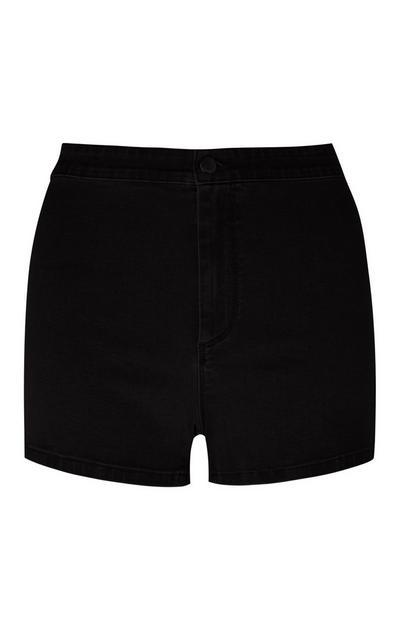 Black High Waisted Tube Shorts