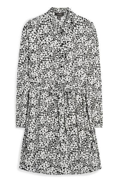 Black And White Floral Drawstring Shirt Dress