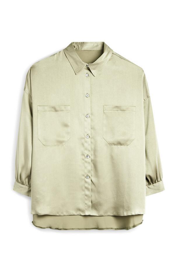 Olive Satin Shirt