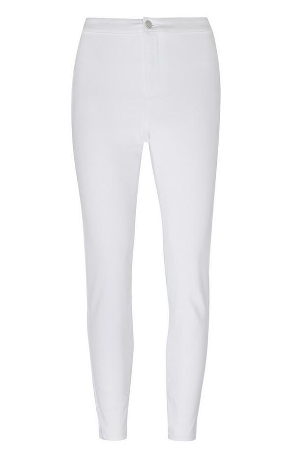 Calças ganga skinny cintura subida branco