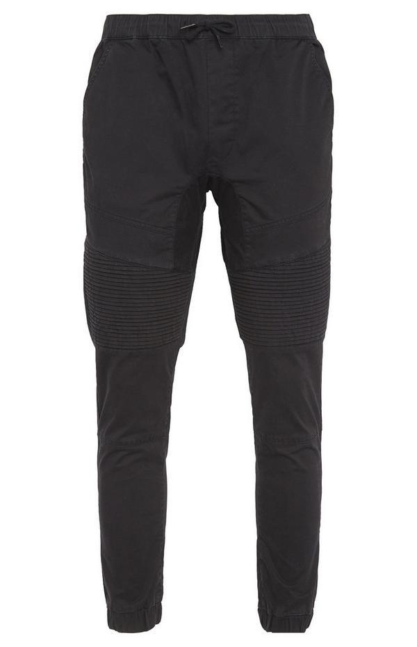Black Biker Cuff Trousers