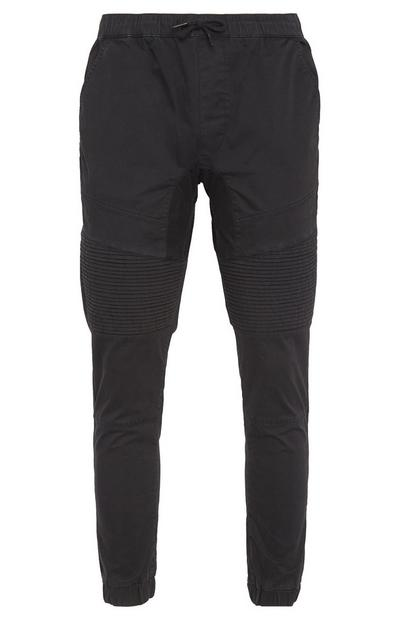 Black Biker Cuff Trousers