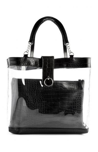 Black Transparent Two In One Handbag