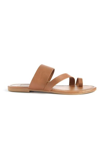 Tan Toe Loop Strappy Sandals