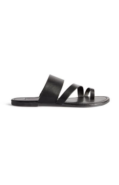 Black Toe Loop Strappy Sandals