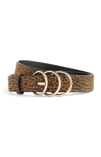 Cinto 3 fivelas padrão leopardo