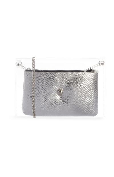Faux Leather Snake Print Clear Chain Bag