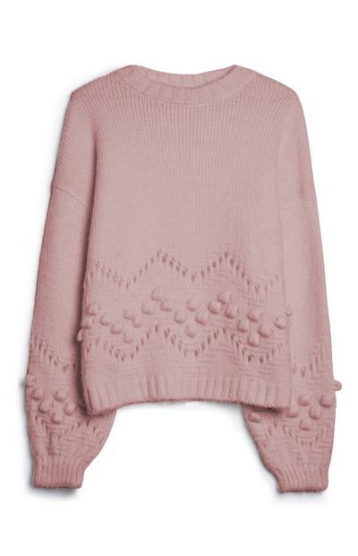 Camisola pompom cor-de-rosa