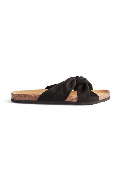 Zwarte geknoopte platte slippers
