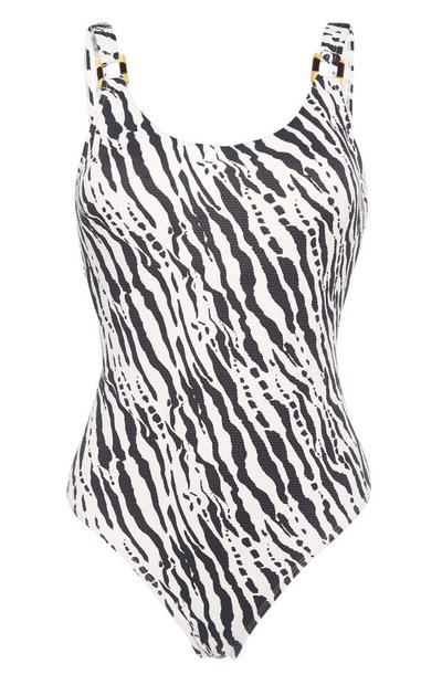 Black And White Zebra Print Swimsuit