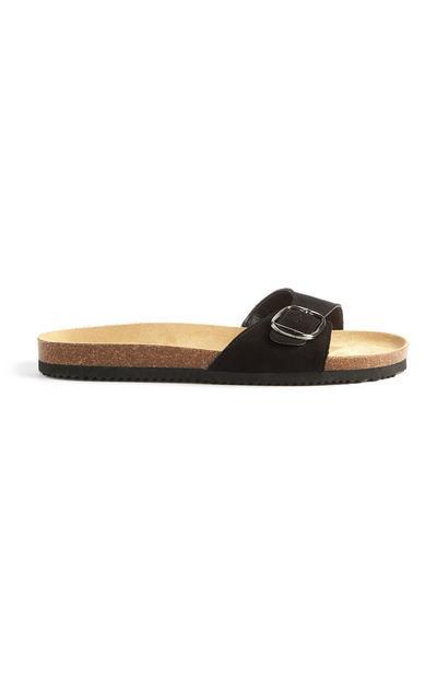 Black Single Strap Slides