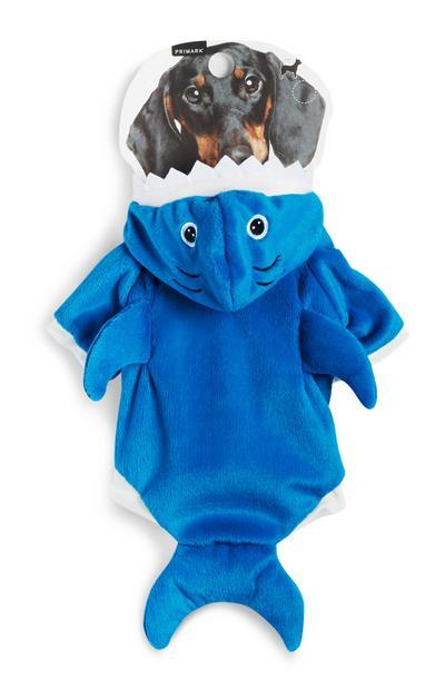 Modra obleka v obliki morskega psa za hišne ljubljenčke