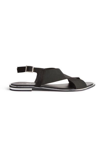 Black Elastic Strappy Sandals