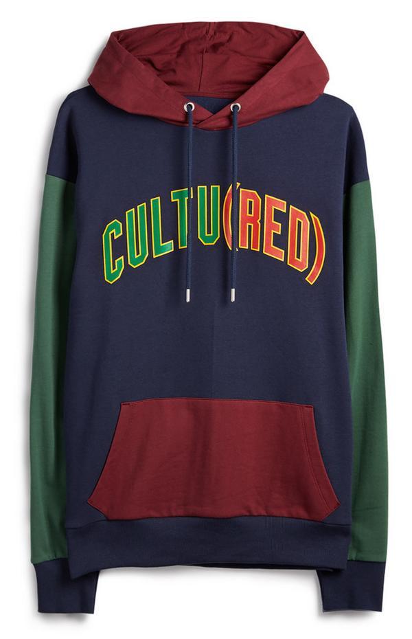"Burgunderrot-marineblau-grüner ""RED"" Kapuzenpullover im Farbblock-Design"