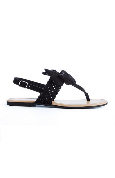 Black Chiffon Bow Thong Sandals