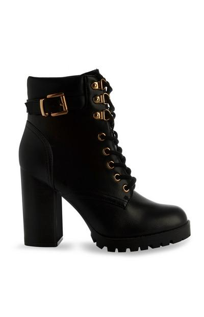 Black Vegan Faux Leather Lace Up Boot