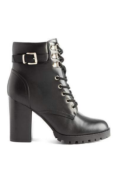 Črni veganski škornji z debelo peto, vezalkami in zaponko