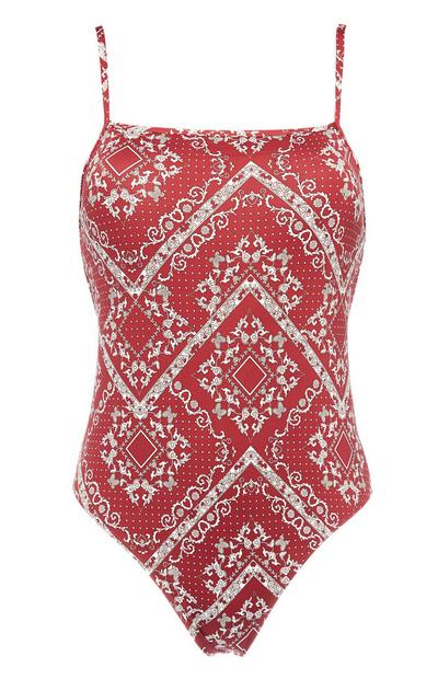 Burgundy Bandana Print Swimsuit