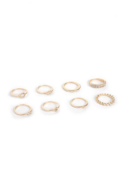 Yellow Diamante Ring Set 8Pk