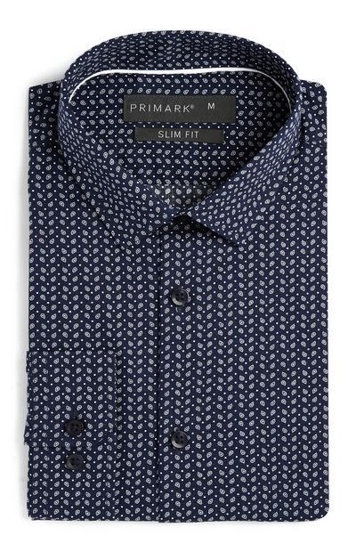 Camicia blu navy slim fit motivo cashmere