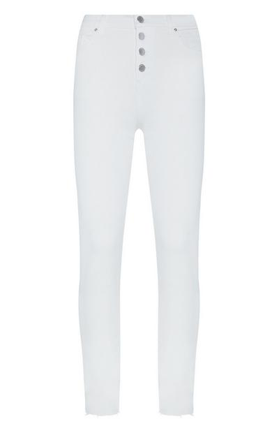 White Button Up Raw Hem Trousers