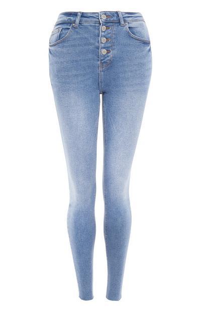 Light Blue Raw Hem Button Up Jeans
