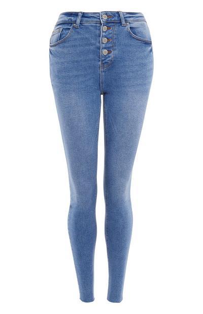 Light Blue Frayed Ankle Button Fly Skinny Jeans
