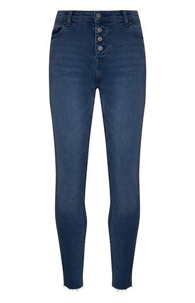 Baumwoll-Jeans mit ausgefranstem Saum und Knopfleiste
