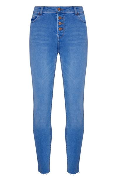 Blue Frayed Ankle Buttoned Skinny Jeans