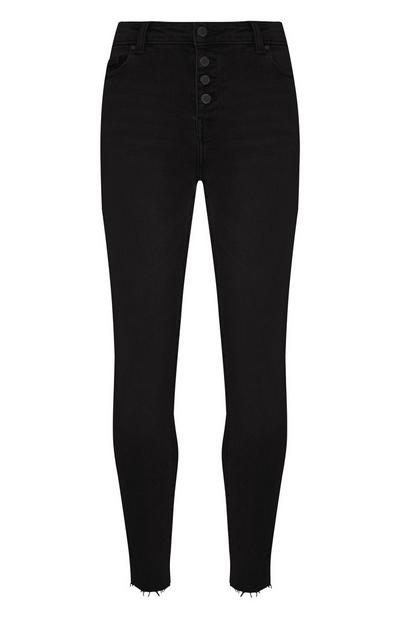 Black Frayed Ankle Button Fly Skinny Jeans