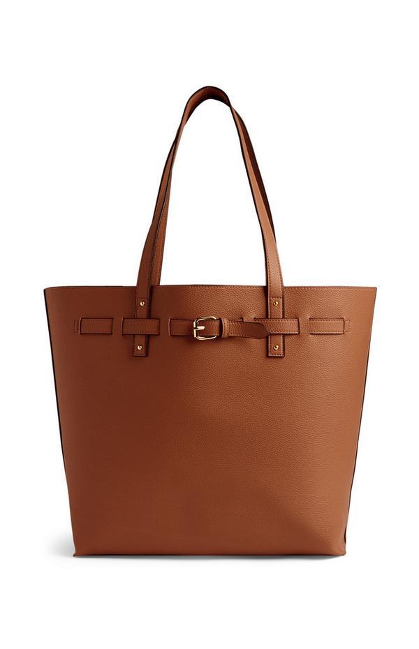 Bolso shopper mediano de color marrón