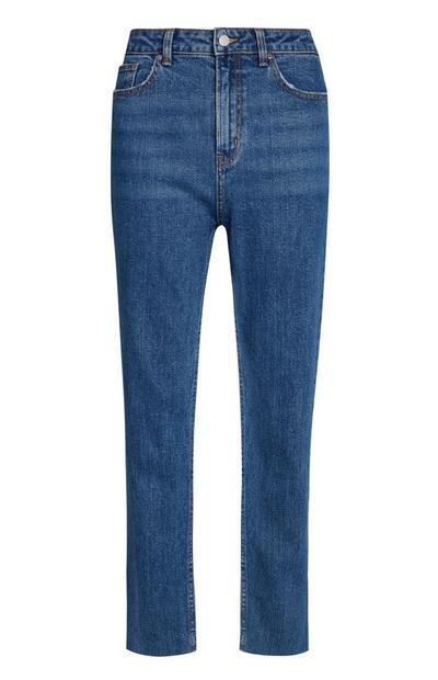 Donkerblauwe jeans, recht model