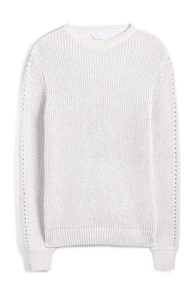 Camisola reciclada malha Pointelle branco