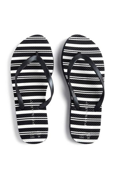 Black And White Striped Flip Flops