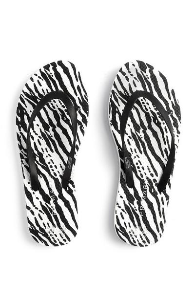 Black And White Zebra Print Flip Flops