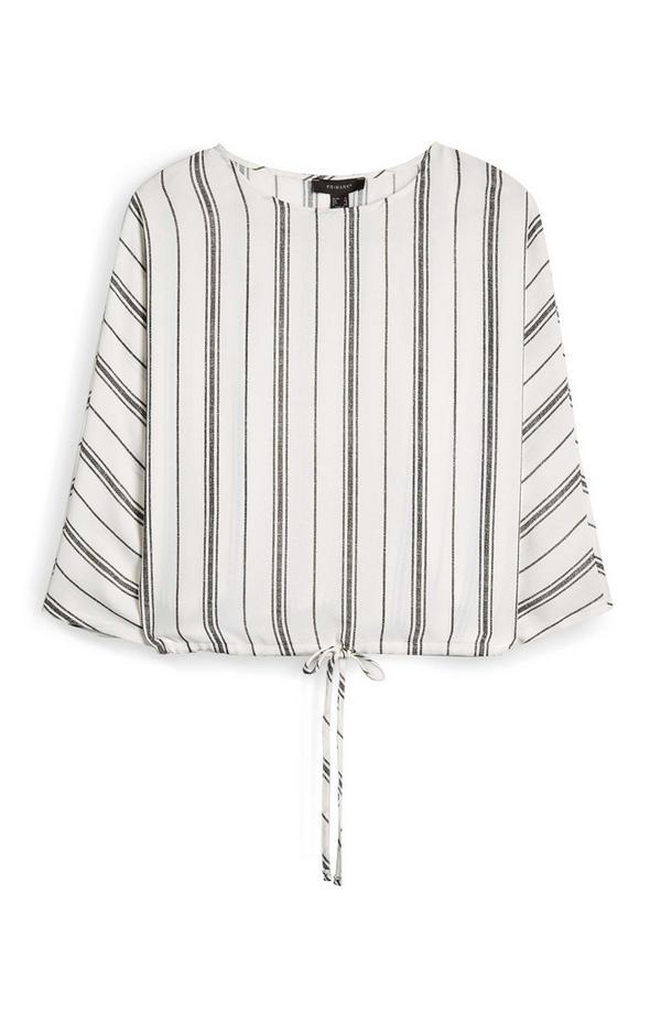 Bela črtasta bluza z zatezno vrvico na spodnjem delu