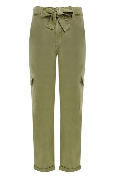 Green Belted Cargo Trousers