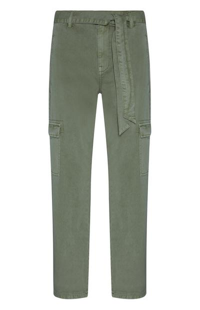 Khaki Belted Cargo Trousers