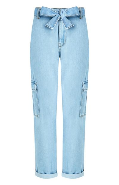 Blue Belted Cargo Trousers
