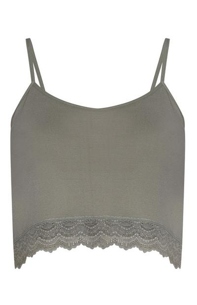 Olive Cropped Lace Trim Cami