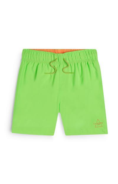 Older Boy Neon Green Swim Shorts