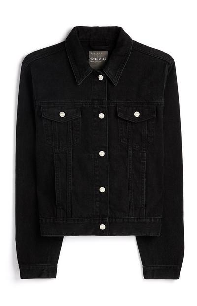 Black Basic Denim Jacket